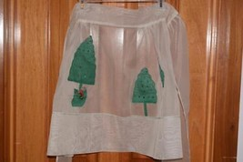 Christmas Apron Sheer white with 3 green trees half  waist tie Holiday - $8.68