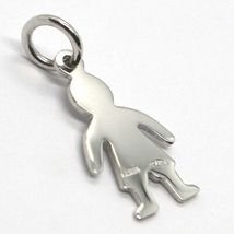 18K WHITE GOLD LUSTER PENDANT WITH FLAT BOY BABY, KID, MADE IN ITALY, CHARM image 3