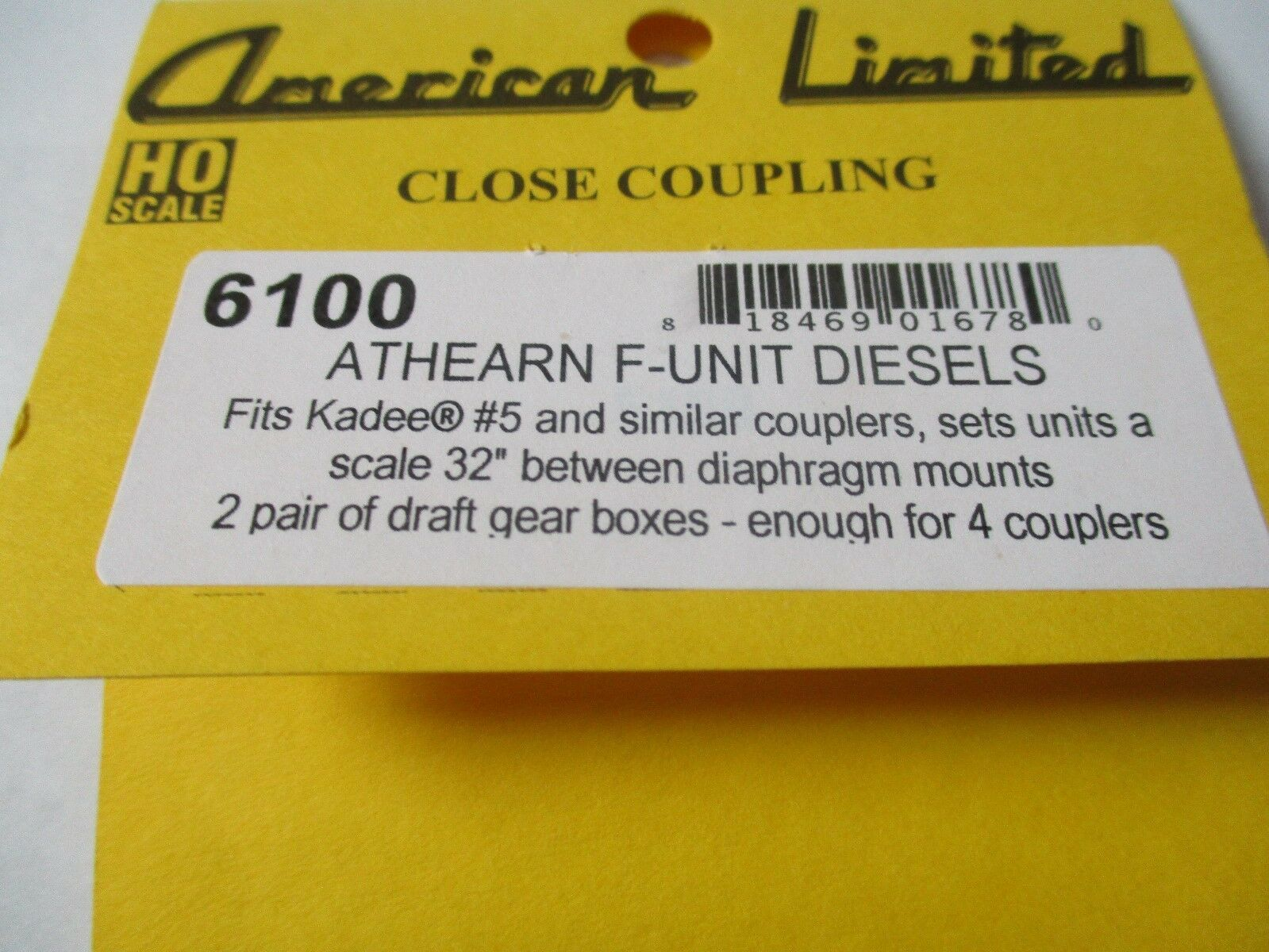 American Limited # 6100 Close Coupling Athearn F-Unit Diesels 2 Pair HO-Scale