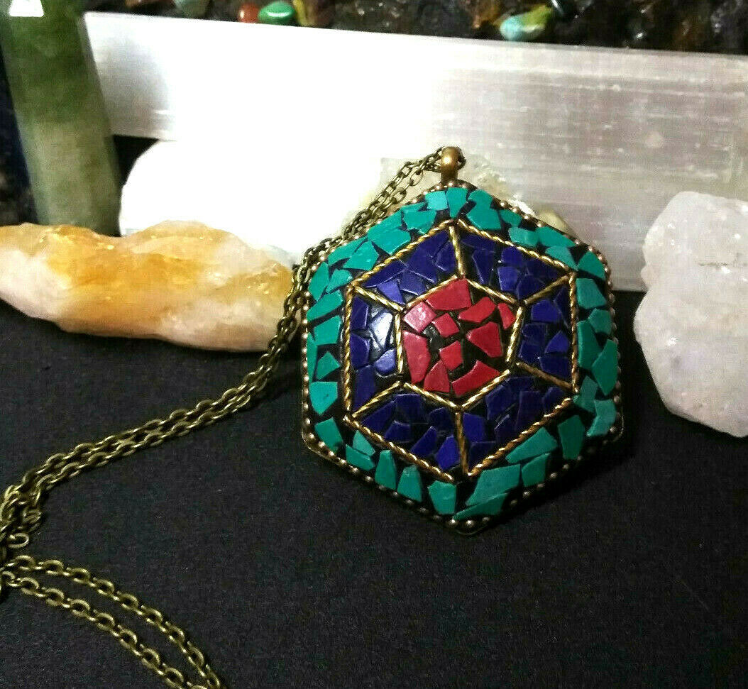 Primary image for Necklace, Pendant from Nepal W/ Turquoise Lapis Coral, Natural Stone Boho Tribal