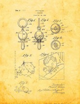Baby Pacifier Patent Print - Golden Look - $7.95+