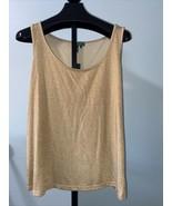 Lauren by Ralph Lauren Women's 2X Top Shimmering Metallic Gold Holiday P... - $32.55