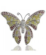 Butterfly Brooch Pin 2.80 Carat Natural Colored Diamond 14k White Gold L... - $2,003.92