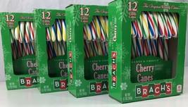 4 Boxes Brachs Cherry Candy Canes 12 Ct Christmas Rainbow Stripe 48 Sticks Total - $19.79