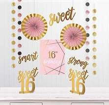 """Sweet Sixteen"" Birthday Metallic Gold and Pink Room Decorating Kit, 12 Pc. - $28.29"