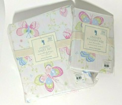 Pottery Barn Kids Floral Trellis Crib Sheet Bright Pink Nip Blue Floral