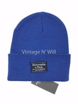 Abercrombie Fitch Blue/ Navy Classic Logo Patch Turn Up Beanie Skull Cap... - $19.79