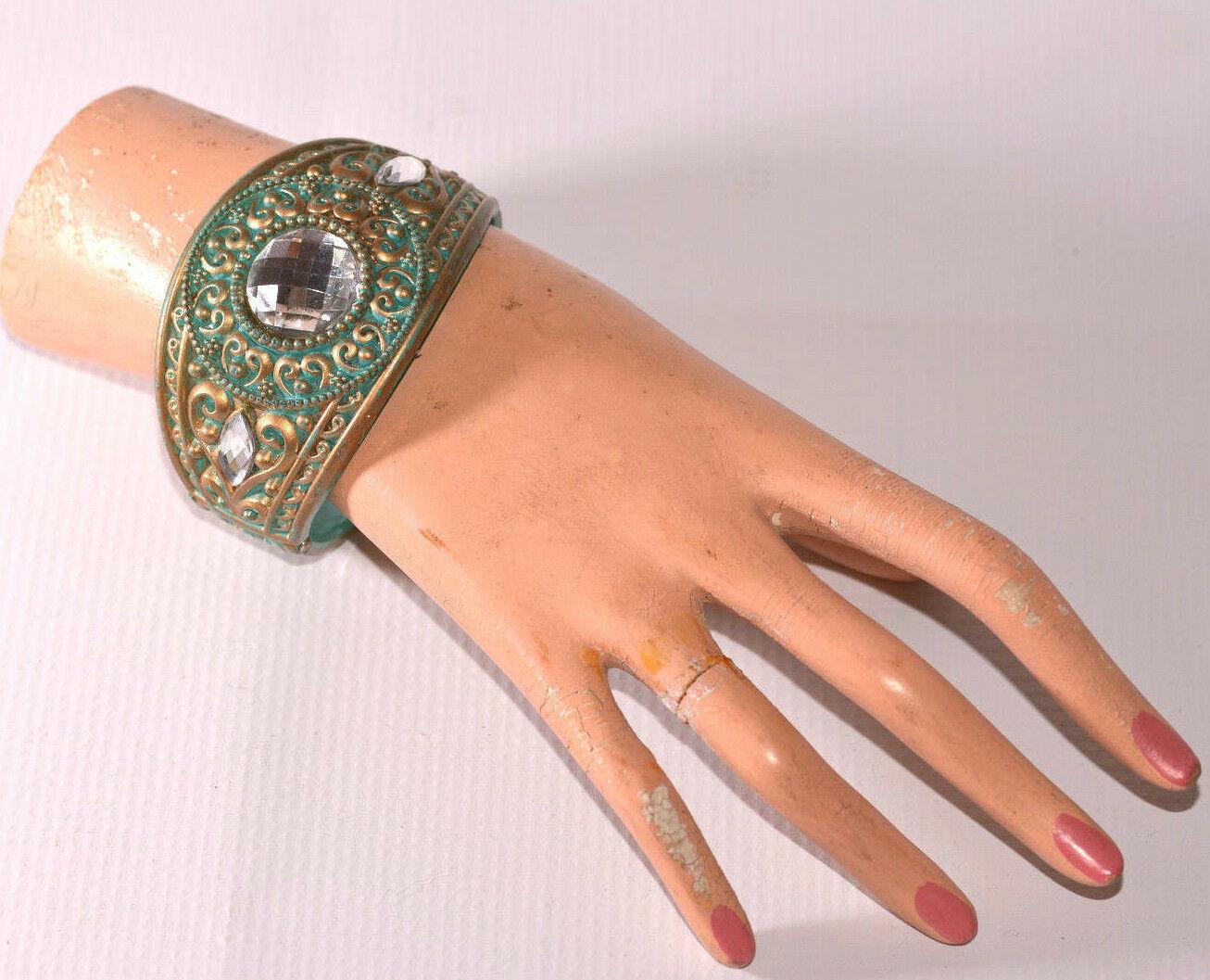 vintage wide plastic bangle bracelet with large rhinestone cabochon cab