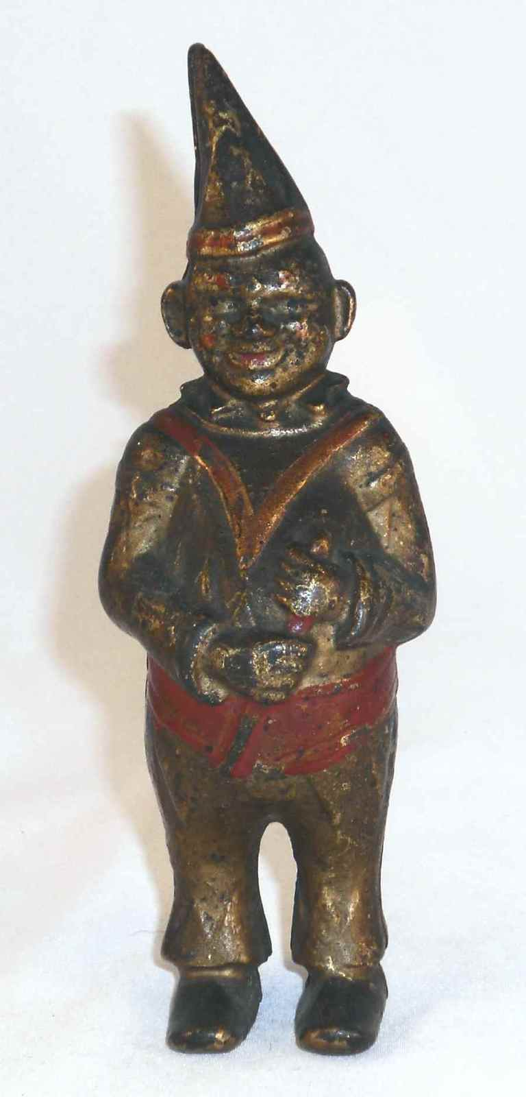 Old Cast Iron Still Penny Bank Clown in Pointed Hat Gold Red Colors AC Williams