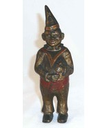 Old Cast Iron Still Penny Bank Clown in Pointed Hat Gold Red Colors AC W... - $97.00