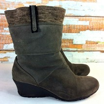 MERRELL Lily Grey Wedge Boots Womens Size 9.5 M Suede & Knit Vibram Sole... - $19.79