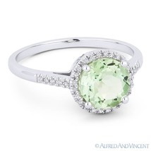 1.19 ct Green Amethyst & Diamond Halo 14k White Gold Promise / Anniversa... - £229.12 GBP