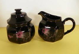 Mikasa EBONY Garden Creamer and Sugar Bowl with Lid Pink Yellow Flowers on Black - $29.59