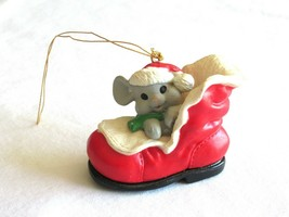 "VTG Plastic Christmas Ornament Mouse in a Red Boot 1.5"" with Santa Hat S... - $9.99"