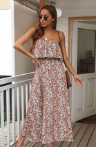 New brown floral off the shoulder long ruffle casual women maxi summer d... - $36.00