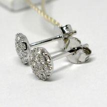 White Gold Earrings 750 18k, 0.39 Carat Diamonds, Button, Round, sett image 3