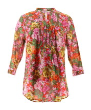 Liz Claiborne NY Floral Print Button Front Tunic Pink Floral 4 NEW A262177 - $32.65