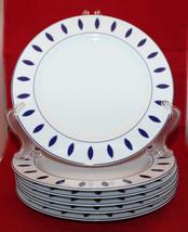 Guzzini Italy Costa Verde Set of 6 Porcalain Dinner Plates White Navy Bl... - $122.27