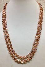 """Vintage pink opalescent art glass necklace 46"""" - €8,80 EUR"""