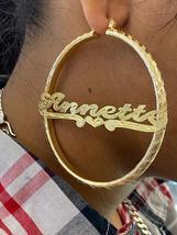 "14k gold overlay personalized Hoop Earrings 3 ""  /#c1 - $49.99"