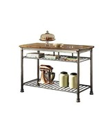Industrial Style Kitchen Island Storage Cart Wooden Top with Metal Base ... - $419.57