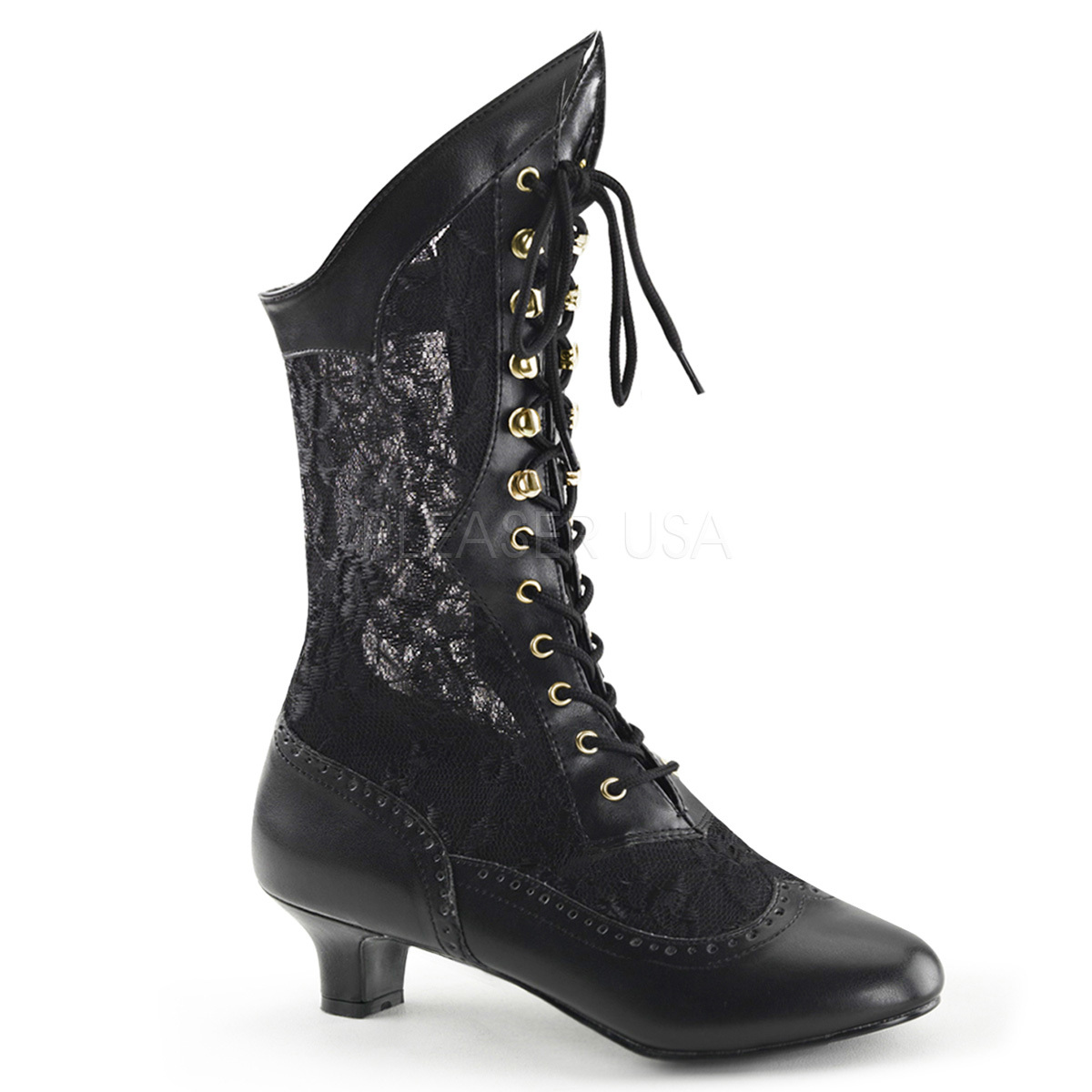 "FUNTASMA Dame-115 Series 2"" Heel Ankle-High Boot - Black Pu-Lace"