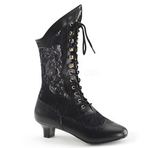 "FUNTASMA Dame-115 Series 2"" Heel Ankle-High Boot - Black Pu-Lace - $57.95"