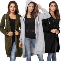 Hot Sale Women Hoodie Long Hooded Sweatshirts Coat Casual Pockets Zipper Solid O