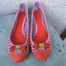 Tory Burch Leather Ballet Flats Size 8 Woven Caryle Bows Pink Orange - $65.44