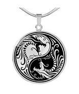 Express Your Love Gifts Yin Yang Dragon Gold Circular Pendant Necklace - $49.45