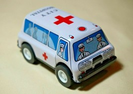"""Vintage Tin Toy New Sanko Metal Friction 3"""" Ambulance Truck Car Made in ... - $12.82"""