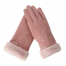 Women Gloves Fashion Winter Faux Suede Outdoor Sport Warm Snowflakes Tou... - $9.99