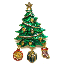 "Christopher Radko Brooch Pin Christmas Tree Enamel Gold Plated Signed 2.5"" - $20.00"