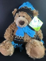 Mary Meyer St. Judes Brown Teddy Bear Oliver Blue Hat Scarf Stuffed Plush Animal - $13.98