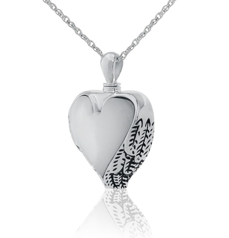 Small/Keepsake Mother of Pearl Heart Pendant Funeral Cremation Urn for Ashes