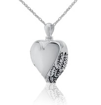 Small/Keepsake Mother of Pearl Heart Pendant Funeral Cremation Urn for Ashes - $54.99