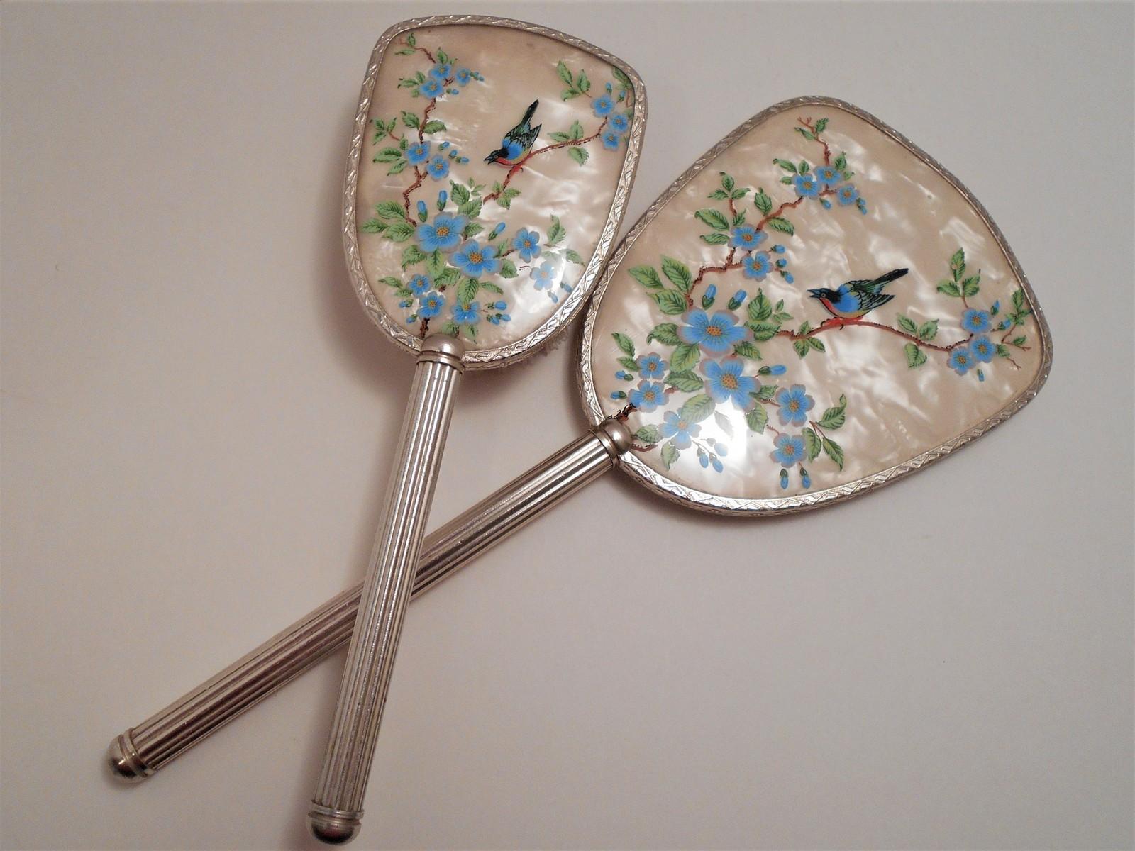 Vintage Bird Picture Hand Mirror & Brush Made in England