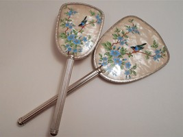 Vintage Bird Picture Hand Mirror & Brush Made in England image 1