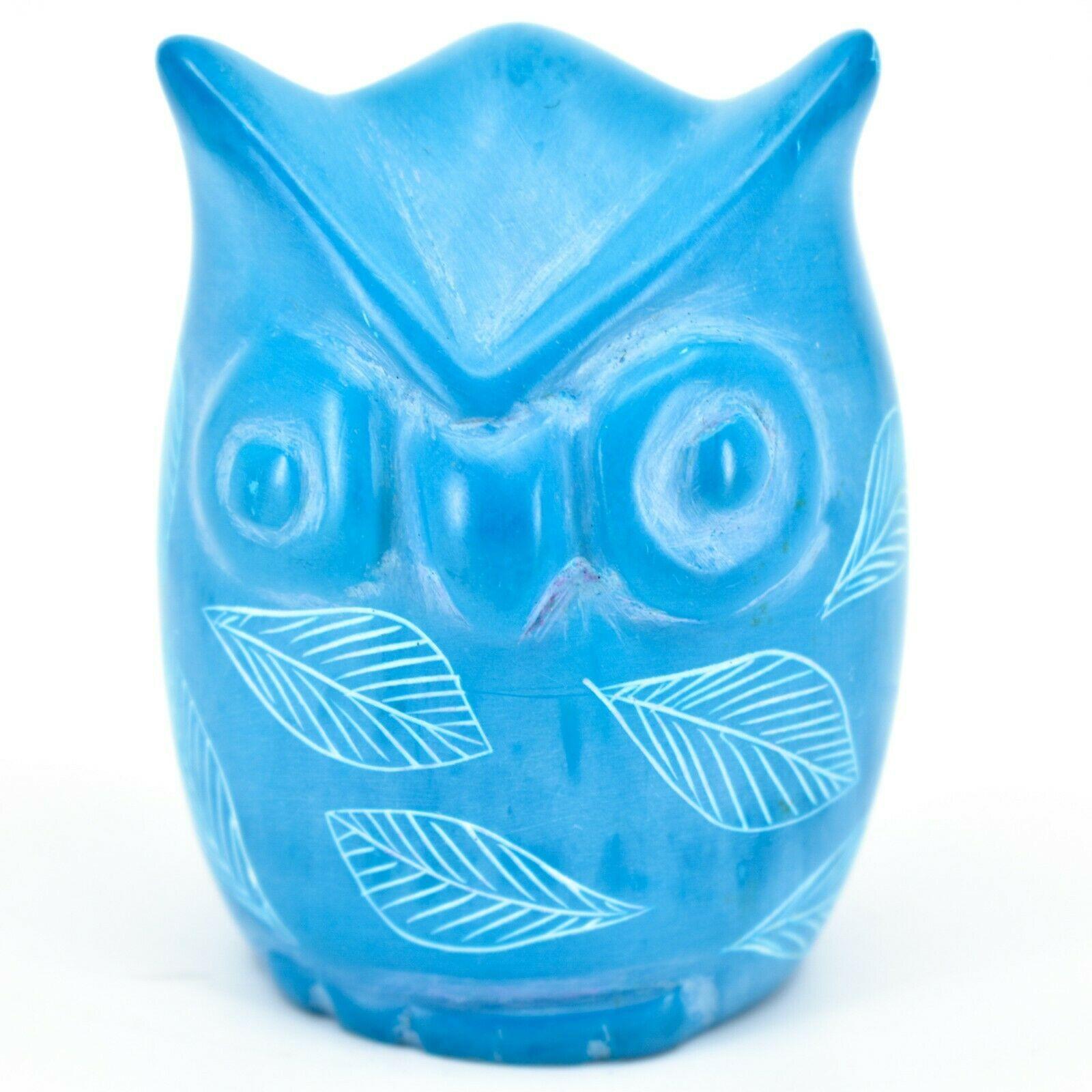 Tabaka Chigware Hand Carved Kisii Soapstone Sky Blue Owl Figurine Handmade Kenya