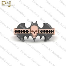 Rose Gold Skull Engagement Ring Black Diamond Bat Logo Skull Ring Gothic... - $73.59+