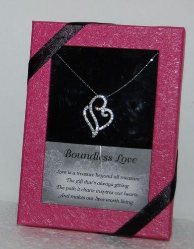 DM Merchandising BLHEART Boundless Love Heart Necklace Clear Rhinestone Gift Box