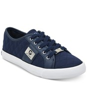 G by Guess Women's Backer3 Lace Up Leather Quilted Pattern Sneakers Shoes Blue