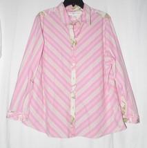 Tommy Hilfiger Woman Stretch Pink Striped Shirt Size 18 - $13.86