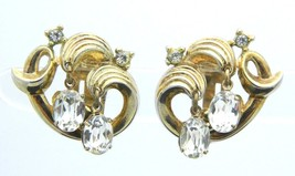 Crown TRIFARI RARE Clear Rhinestone Gold Tone Clip-On Earrings Rare Vintage - $49.49