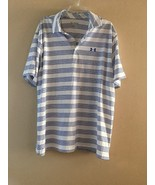 New Mens Under Armour Golf Polo Collared Loose Shirt White Blue striped ... - $28.93