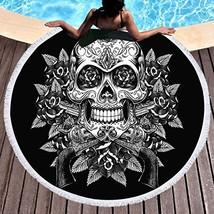 Sleepwish Sugar Skull Round Beach Towel with Tassels Skull Rose and Guns... - $20.05