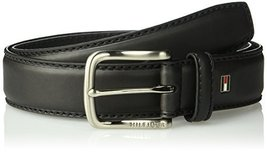 Tommy Hilfiger Men's Casual Belt, Black logo, 36