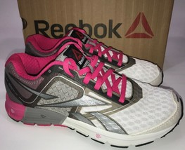 Reebok One Cushion 3.0 Womens Running Shoes Size 6 M White / Pink / Gray - $44.55