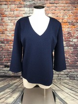 Ann Taylor Navy blue textured V neck long sleeve top large new with tags - $24.25