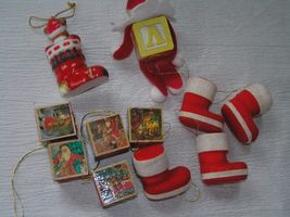 Lot of 11 Faux Wood Building Blocks Folk Art Elf Flocked Christmas Stocking  image 6